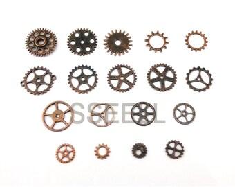20 Piece Red Copper Watch Parts Steampunk Cyberpunk Punk Cogs Gears DIY Jewelry Craft TH0004X20