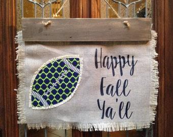 Football/baseball/Texas/Mississippi/any state/team/organization Burlap Door Hanger