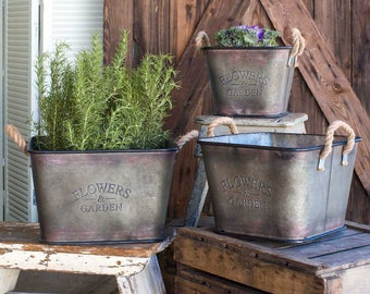 Set of Three Flower and Garden Storage Bins