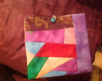 Flip and stitch make up bag or kindle cover in cotton solids