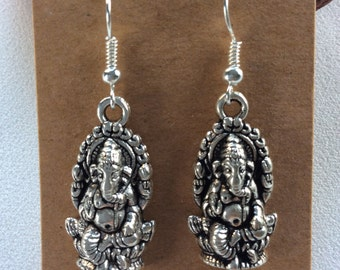 Ganesh elephant God Buddhism drop earrings hippy boho handmade jewellery