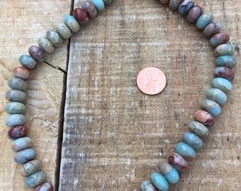 African Opal, Aqua Terra Jasper, Green 7mm x 13mm rondelle bead, 15.5 inch strand