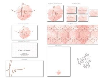 Premade Branding Kit,Branding Package,Watercolor Logo,Logo Design,Business Card Design, Facebook Cover, Handwritten Logo, Watermark Logo