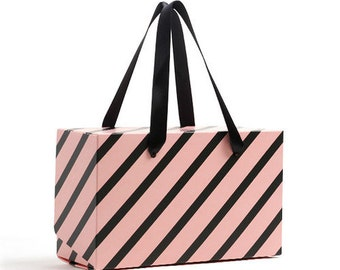 3 pink & dark grey stripe boxes with straps, gift boxes, favor boxes, cute boxes, stripe boxes, boxes with handle, party favor boxes