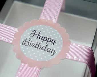 12 Pink Happy birthday scallope stickers, birthday stickers, birthday gift label, birthday favor labels, baby shower stickers,girl birthday