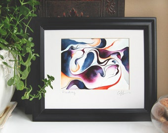 FLUIDITY 5x7 Giclee Fine Art Print, Abstract Oil Painting, 8x10 Matting Included