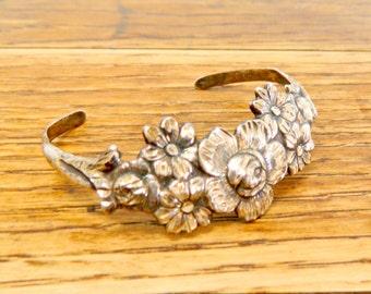 Vintage Sterling Silver Floral Cuff/Bracelet.....60s/70s