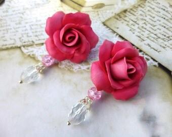 Rose earrings Flowers earrings Pink earrings Flower Jewelry Summer earrings Birthday gift Cute earrings Romantic jewelry Gift for girls