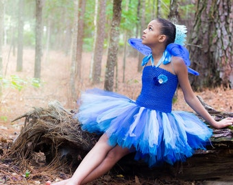 Fairy tutu dress - tutu dress - fairy tutu dress - blue fairy - Tinkerbell birthday party - blue fairy costume - tinkerbell costume
