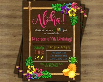 Luau Invitation; Luau Birthday Invitation; Hawaiian Invitation; Hawaiian Party Invitations; Tropical Invitation; Tiki Party Invitation