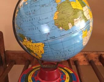 Vintage Ohio Art Company Tin Litho Toy Globe Zodiac Month Signs