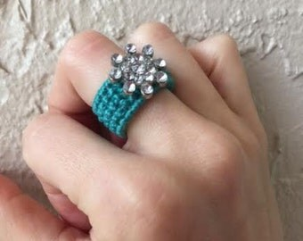 Aquamarine woven flower ring