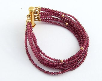 Multi-row red garnet bracelet gold-plated, eight-row bracelet