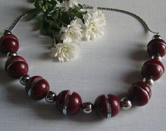 Orig bakelite necklace - chrome by j boy