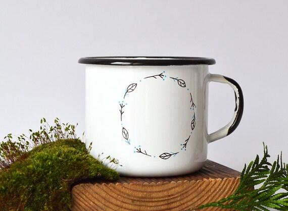Custom Text Personalized Enamel Mug / Hand painted Mug With Your Text / Vintage Cup Coffee / Floral Mug / Coronet/Travel Mug