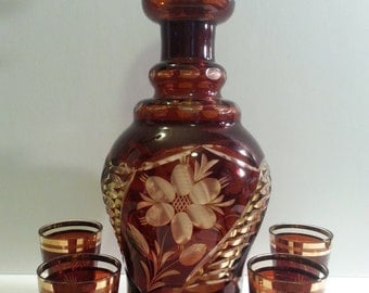 Antique Ruby Cut To Amber Decanter Set