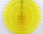 """Yellow Tissue Paper Fan 21"""". Yellow Party Decor for Birthday, Wedding, Bridal Shower, or Baby Shower. Yellow Photo Prop or Yellow Backdrop"""