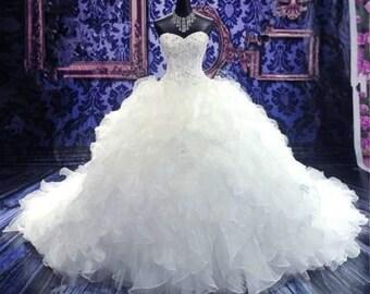 strapless wedding dress, full bottom bridal gown