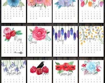 2017 Printable Floral Calendar | Desk Calendar 2017 | Flower Calendar | Floral Watercolor Wall Calendar | INSTANT DOWNLOAD 300DPI PDF