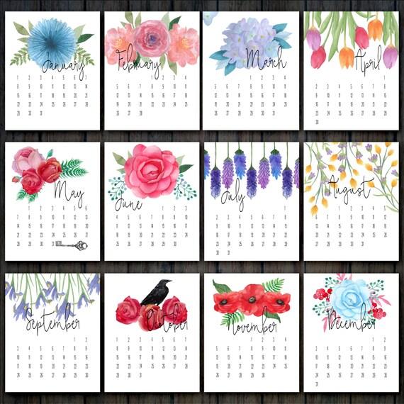 2017 Printable Floral Calendar Desk Calendar 2017 Flower
