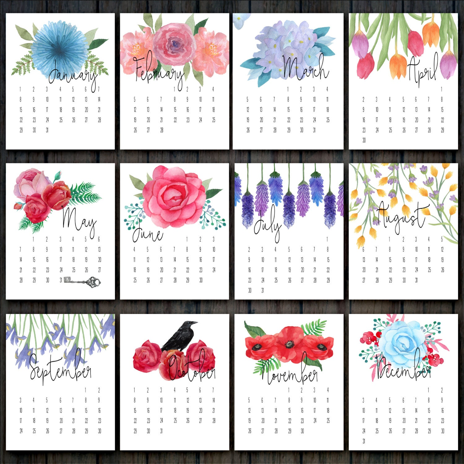Calendar Flowers : Printable floral calendar desk flower