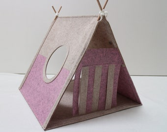Cat house Cat bed Cat teepee Cat cave Cat toy cat lover gift Play house Cat tent Triangle cat house