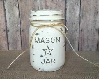 Cream colored hand painted pint size mason jar