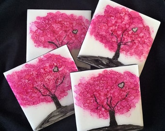 Ceramic tile alcohol ink coasters, Set of 4, Decorative Drink Coasters, Valentine's Day, Multi Color Alcohol Ink Tile Coasters