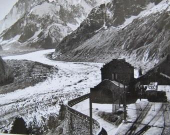 Chamonix-Mont Blanc Vintage Postcard / Mer de Glace Chamonix France  / Real photo postcard / Glacier postcard
