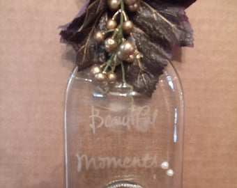 "Clear Glass Bottle, etched ""Beautiful Moments"" for Decor or Spoon rest, (# 130/3)"