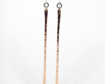Bronze and Sterling Silver Straight Dangle Earrings