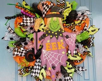Friendly Halloween Witch Deco Mesh Wreath