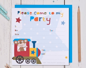 Train Birthday Party Invites