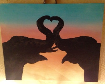 Hand Painted Canvas, Love, Elephants, Colorful, Silhouette