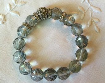 Pale Blue Faceted Crystal Bead Bracelet