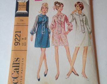McCalls 9221 Juniors Minidress 1968 Size 9 Cut Pattern