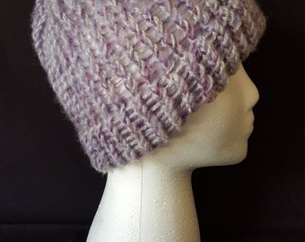 Purple and Grey Cashmere Beanie