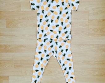 Pineapple Pajamas, Pineapple, PJs, Kids Pajamas, Pajama Set, Matching Pajamas, Jammies, Sleepwear