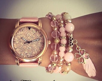 "WATCH BRACELET SET""Shiny"" - Baby pink,women's set of pink watch and three beautiful pink bracelets,unique gift for women,watch bead bracelet"