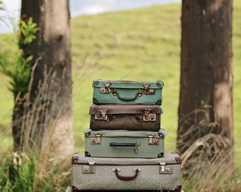 Vintage Suitcases In The Country Digital Background