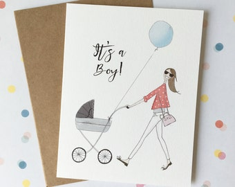 """Personalised """"it's a boy!"""" Greeting card."""