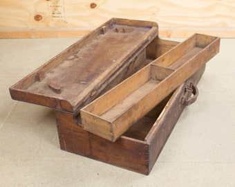 1930s Vintage Wooden Carpenter's Tool Box with Curved Lid