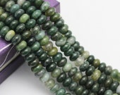 2.0mm Large Hole Moss Agate Gemstone Smooth Rondelle Loose Beads 5*8mm Approximate 8 Inches per Strand.I-AGA-L-0159