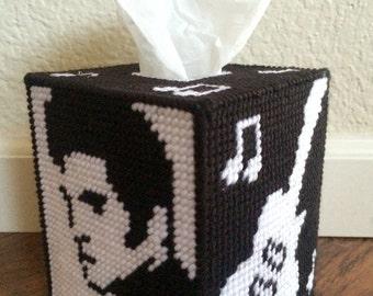 "Handmade ""Elvis Presley"" Plastic Canvas Tissue Box Cover"