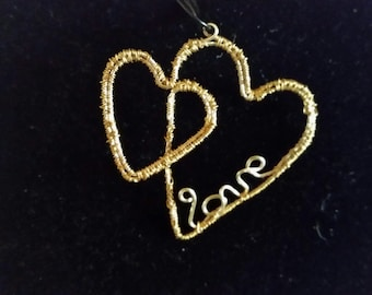 wire love hearts pendant