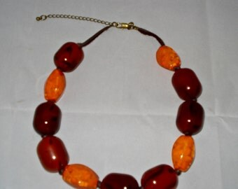 Amber and orange choker necklace
