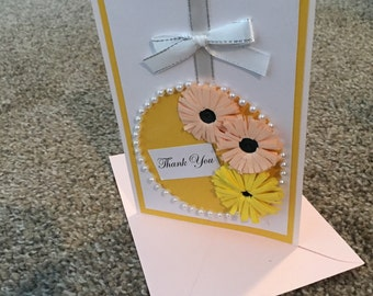 Pink and yellow flowers thank you card