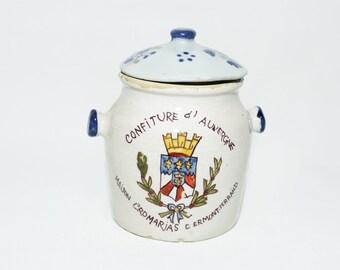 """French Terracotta Tea Jar """"Confiture d'Auvergne Maison Cromarias Cermont Ferrand"""""""