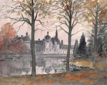 Chantilly Castle — Original French watercolor 18 x 14 cm - 7 x 5.5 inches