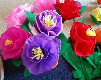 Paper mache hand made flowers